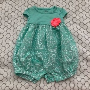 Adorable Teal Parachute Onesie with Coral Flower